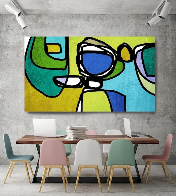 "Vibrant Colorful Abstract-0-18. Mid-Century Modern Green Blue Canvas Art Print, Mid Century Modern Canvas Art Print up to 72"" by Irena Orlov"