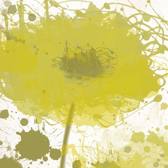 Modern Green Flowers canvas, large wall art, flower canvas art print, fine art print, Abstract splash flower by Irena Orlov