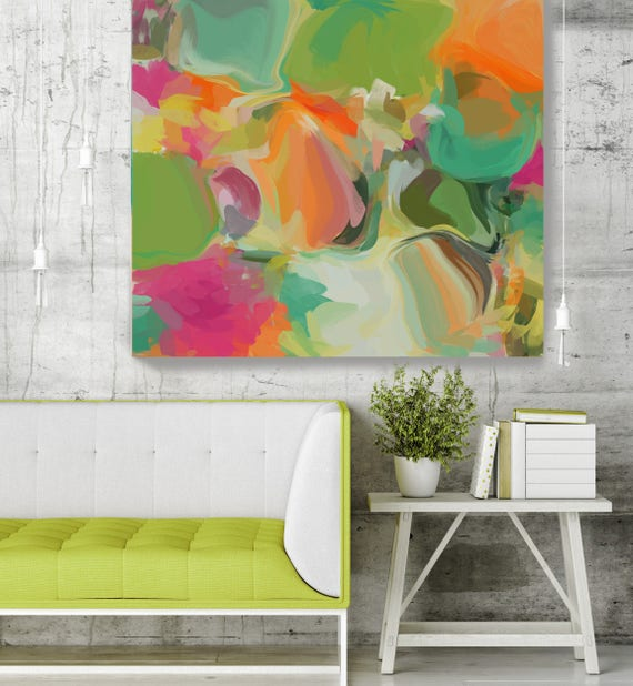 "Simply Gratitude 1. Green Orange Abstract Art, Wall Decor, Large Abstract Colorful Contemporary Canvas Art Print up to 48"" by Irena Orlov"