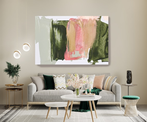 Green Pink Modern Abstract Wall Art Decor, Abstract Painting Canvas Print, Abstract Painting Art, Wall Art for Home Shades of Pink and Green