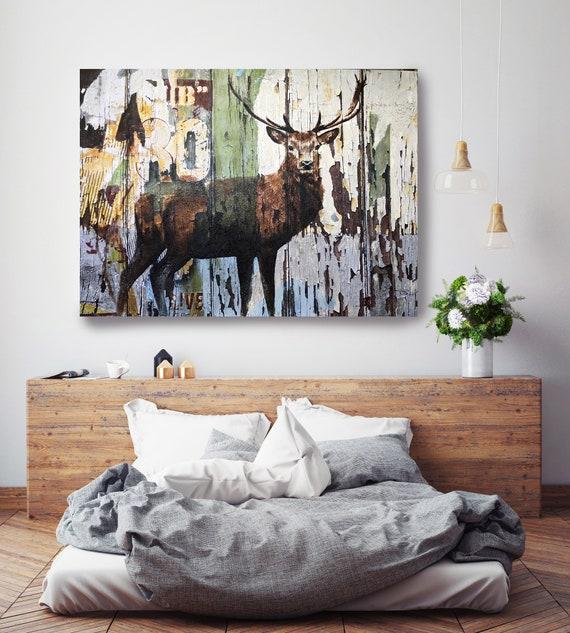 Deer 2-4. Deer Painting, Canvas Art Print, Large Rustic Deer Farmhouse Canvas Wall Art, Canvas Print, Irena Orlov