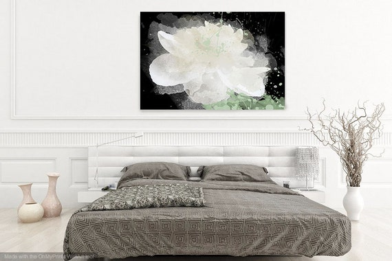 "White Peony Flower. Floral Painting, White Black Abstract Art Large Abstract Colorful Contemporary Canvas Art Print up to 72"" by Irena Orlov"