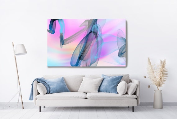 Pink Blue Contemporary Wall Art, Office Decoration Vibrant Wall Art Electric Canvas Print, Home Decor, New Media, Color in the Lines 17