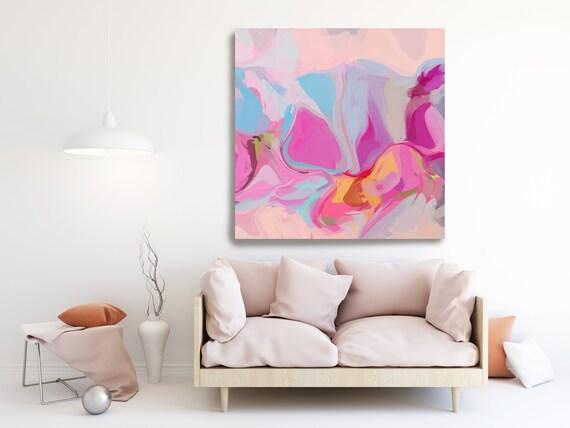 Rosepink Blue Yellow Natural Abstract Painting, Beautiful Abstract Art, Modern Wall Decor, Large Canvas Art, Mood Lifter