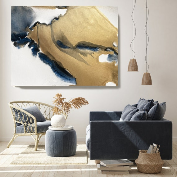 Gold in Blue Watercolor Abstract 3, Wall Art Decor Gold Abstract Painting Large Wall Art Abstract Canvas Print Gold Blue Purple Art for Home