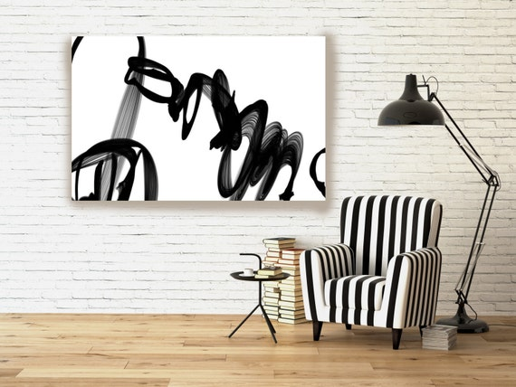 "Industrial Abstract in Black and White 2015-28. Unique Abstract Wall Decor, Large Contemporary Canvas Art Print up to 72"" by Irena Orlov"