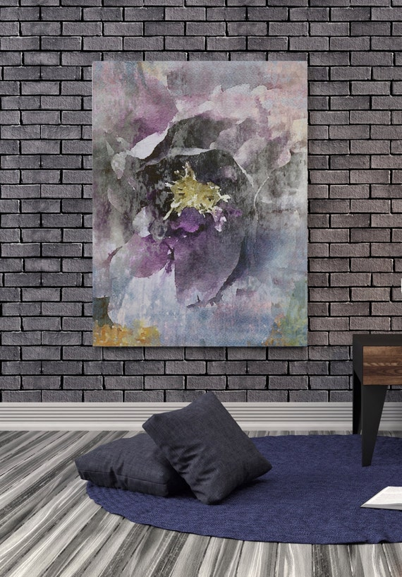 """Purple Rustic Floral. Floral Painting, Purple Gray Abstract Art, Abstract Colorful Contemporary Canvas Art Print up to 72"""" by Irena Orlov"""