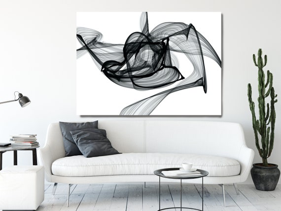 Outbreak 45H x 60W inch, Innovative ORIGINAL New Media Abstract Black And White Painting on Canvas Minimalist Art