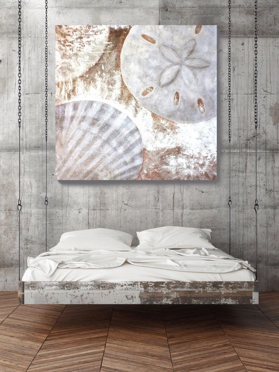 White Shells, Original Rustic Shells Coastal Painting with Acrylic on Unstretched Canvas 54 x 54 inches by Irena Orlov