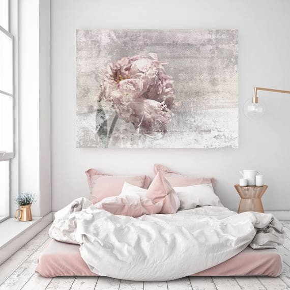 "Romantic Peony 1, Shabby Pink Gray Rustic Peony, Shabby Chic Blush Peony Flower Hand Textured Canvas Art Print up to 72"" by Irena Orlov"