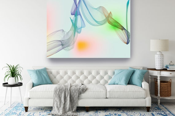 Blue Abstract Gradient Flow Modern Abstract Wall Art Decor Abstract Canvas Print Modern Trendy Wall art Luxury Abstract Painting, Minimalist