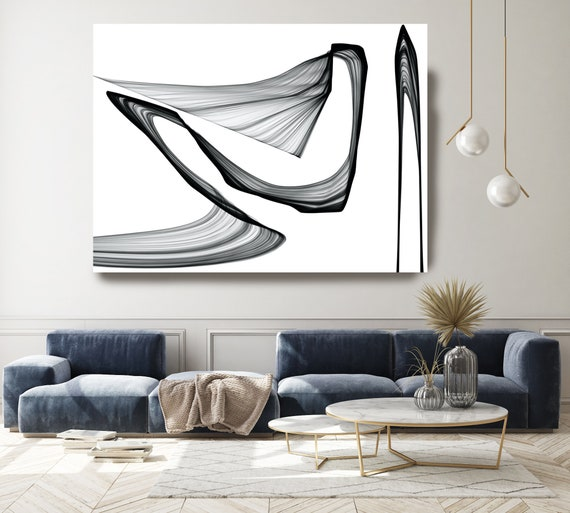 A change of speed 45H x 60W inch, Minimalist Innovative ORIGINAL New Media Abstract Black And White Painting on Canvas Minimalist Art