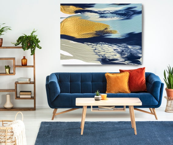 Gold Water Reflection Gold Light Blue Abstract Painting  Modern Art Abstract Painting Extra Large Painting Extra Large Abstract Canvas Print