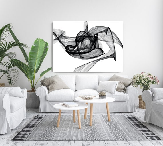Outbreak. Abstract Black and White, Contemporary Canvas Art Print, Minimalist Art, Minimalist Painting Canvas Print, New Media Wall Art