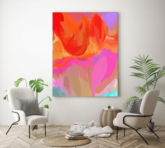 Saga Pink Orange Neon Large abstract painting Original abstract painting Canvas painting Large Canvas Print Original painting Large Wall Art