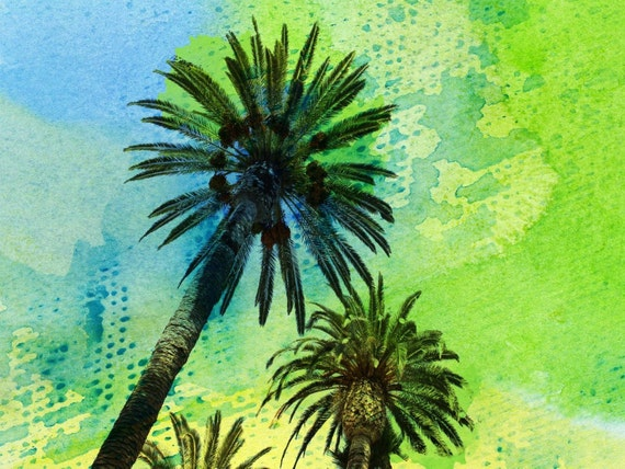 Two palm trees. Canvas Print by Irena Orlov 40x30""