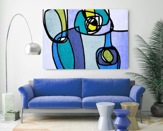 "Vibrant Colorful Abstract-0-5-1. Extra Large Mid Century Colorful Green  PurpleCanvas Art Print up to 60"" by Irena Orlov"