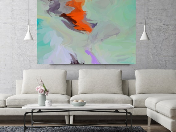 """Seconds Of Me, Red Turquoise Abstract painting Original Acrylic Abstract Art on Canvas, Fine Art Canvas Print Size up to 80"""" by Irena Orlov"""