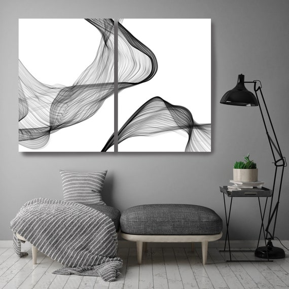 Rhythm and Flow 48, Black and White Diptych Stretched Canvas Wall Art Pair, Canvas Art Print, Abstract Black and White Wall Decor
