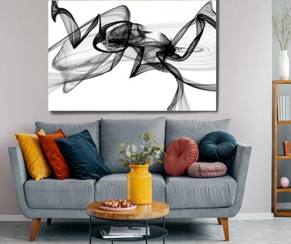 Black and White Wall Art, Conversation Home Decor Wall Art Black and White Abstract Canvas Print Brush Stroke Minimalist Office Art Wall Art