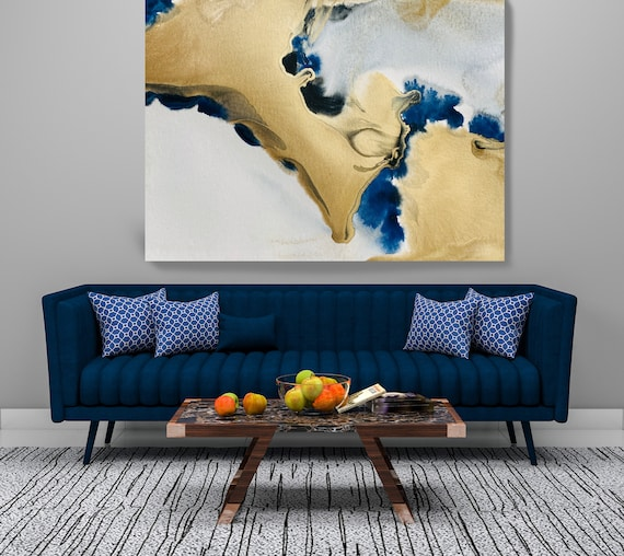 Gold in Blue Watercolor Abstract 5-2, Contemporary Wall Art Gold Painting Large Wall Art Abstract Canvas Print Gold Teal Artwork for Home