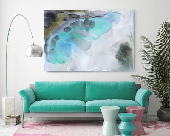 """Watercolor Symphony 94. Contemporary Abstract Green Aqua Canvas Art Print up to 72"""" by Irena Orlov"""