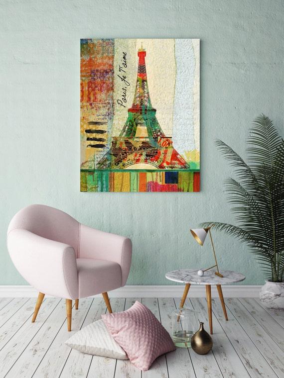 """ORL-2687-1 Paris, Je T'aime. Extra Large Fine Art Canvas Print up to 72"""", Wall Decor Paris Canvas, Rustic Canvas Print"""