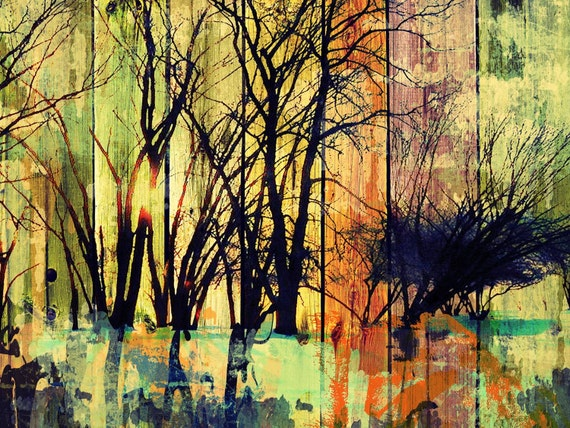 "Forest. Huge Rustic Landscape Painting Canvas Art Print, Extra Large Green Orange Purple Black Canvas Art Print up to 80"" by Irena Orlov"