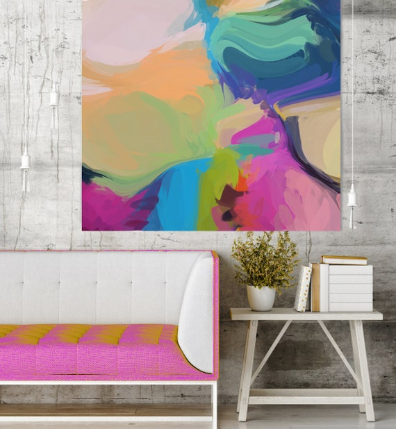 "Night For Two, Art Abstract Print on Canvas up to 50"", Blue Pink White Yellow Green Abstract Canvas Art Print by Irena Orlov"