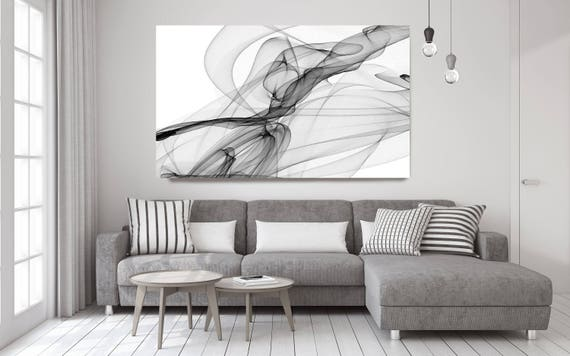 """Abstract Black and White 18-21-31. Contemporary Unique Abstract Wall Decor, Large Contemporary Canvas Art Print up to 72"""" by Irena Orlov"""