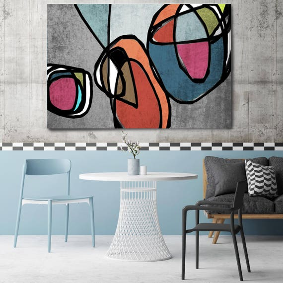Mid Century Modern Art, Vibrant Wall Art, Abstract Painting, Wall Art, Paintings, Abstract Canvas Print, Prints Wall Art, Wall Decor, Print