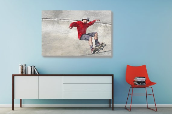 Skateboarder, Skateboard, Watercolor, Wall Art, watercolor painting, Canvas Art Print, Boys Room Decor, Skateboard Decor,Man On Skateboard 2