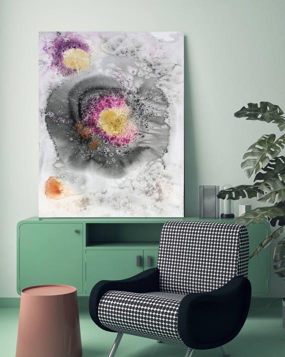 "Coastal Watercolor Abstract 97. Watercolor Abstract Pink Black Canvas Art Print, Watercolor Painting Print up to 72"" by Irena Orlov"
