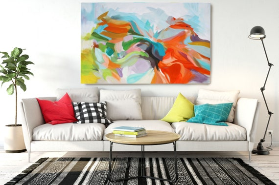 "Gifts of Flame, Abstract Painting Modern Wall Art Painting Canvas Art Print Art Modern Red Green Yellow up to 80"" by Irena Orlov"