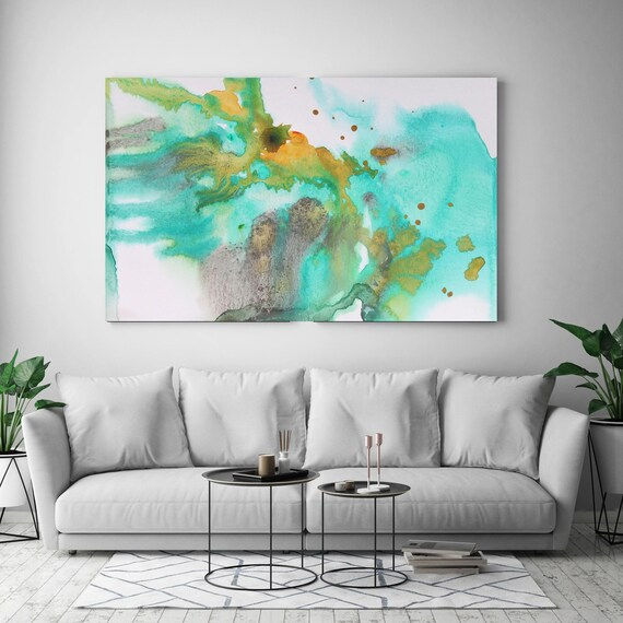 """Coastal Watercolor Abstract 56-3. Watercolor Abstract Blue Green Yellow Canvas Art Print, Watercolor Painting Print up to 72"""" by Irena Orlov"""