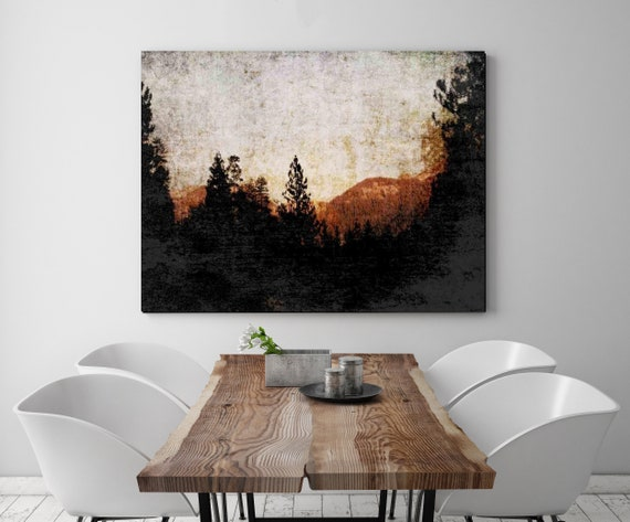 Pasadena. Huge Rustic Landscape Painting Canvas Art Print, Extra Large Black Brown Scenic Canvas Art Print, Landscape Painting