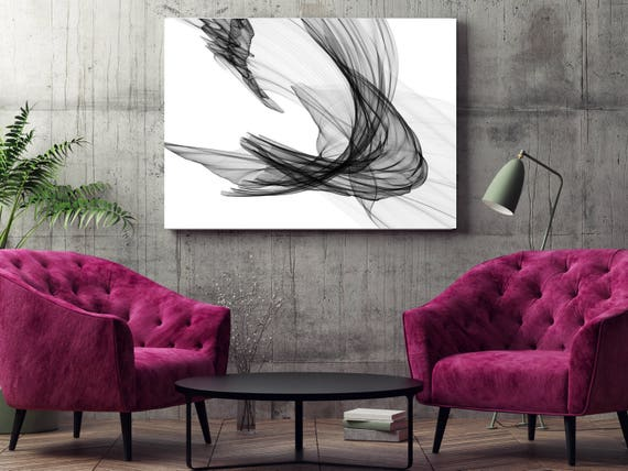 """Abstract Black and White 20-29-04. Contemporary Unique Abstract Wall Decor, Large Contemporary Canvas Art Print up to 72"""" by Irena Orlov"""
