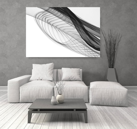 """ORL-7284 Abstract Expressionism in BW 5. Abstract Black and White, Wall Decor, Large Contemporary Canvas Art Print up to 72"""" by Irena Orlov"""