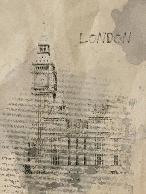 "London, Rainy Mood. Canvas Print by Irena Orlov 24x36"", large canvas art print, wall art print, wall decor, fine art print"