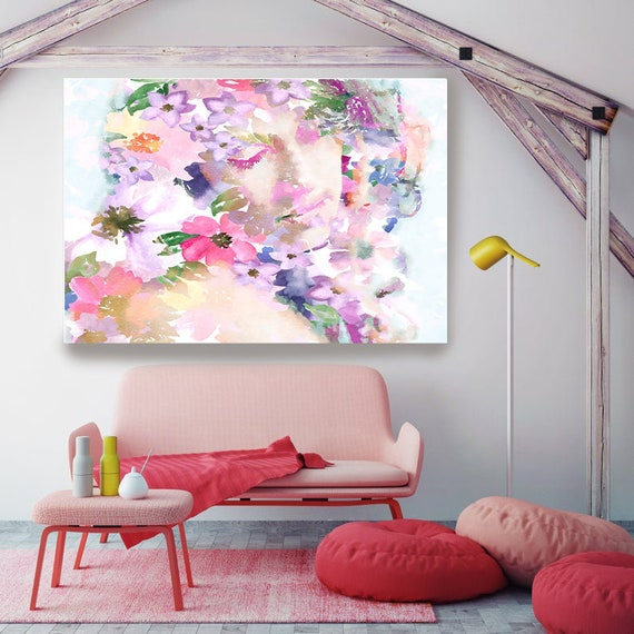 Head of Flowers Art, Figurative painting, Woman watercolor painting canvas print, Woman Portrait, Blossoming Young Girl, Floral Watercolor