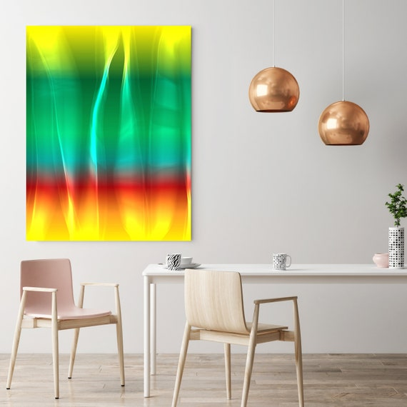 "Mysterious Light 1, Neon Green Red Yellow Contemporary Wall Art, Extra Large New Media Canvas Art Print up to 72"" by  Irena Orlov"
