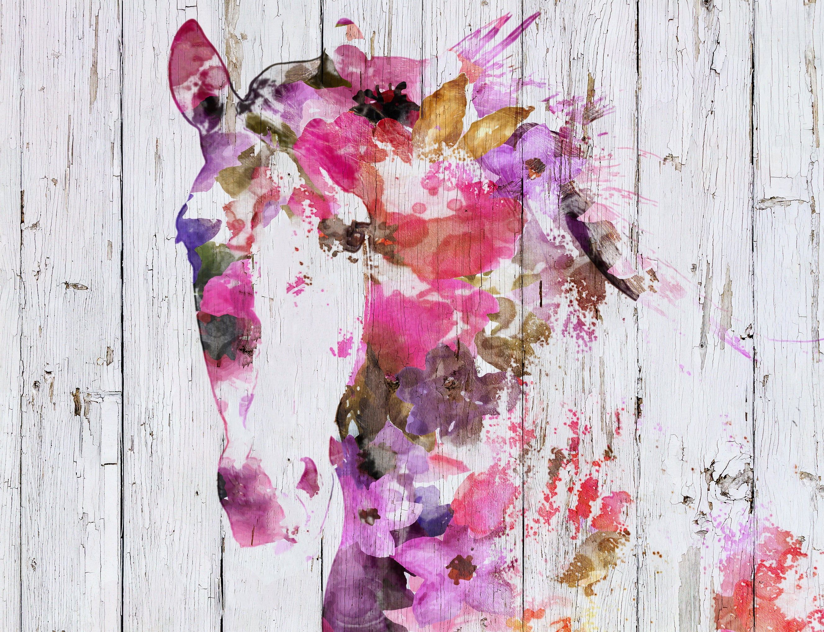 Gypsy Soul 2 Bohemian Colorful Abstract Floral Horse Boho Watercolor Floral Horse Farm Animals Watercolor Horse Horse Canvas Print