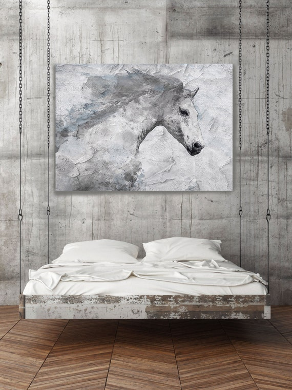 White Horse Painting on canvas, Blue Sky Horse, Horse Art, White Horse, Horse Wall Art Canvas Print by Irena Orlov