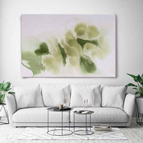 "Watercolor Coastal Abstract 114. Contemporary Abstract Green Canvas Art Print up to 72"", by Irena Orlov"