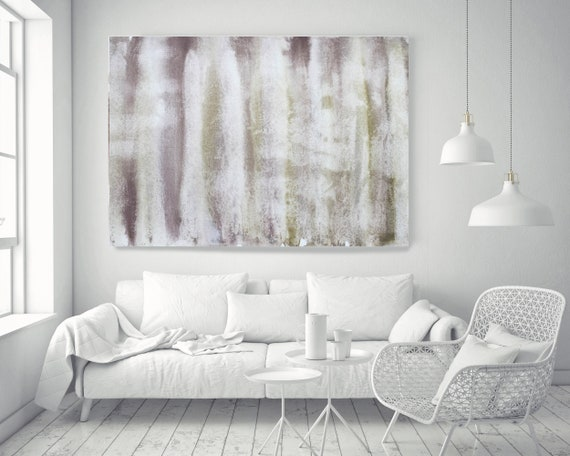 """Olive Green Brown Watercolor abstract splash 1. Pink Brown Abstract Paintings Art,Large Pink Brown Canvas Art Print up to 72"""" by Irena Orlov"""