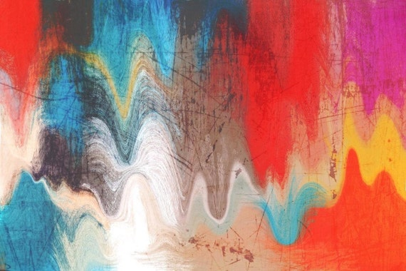 """4592-99-2-Abstract Rhythms NO 28. Abstract Paintings Art, Wall Decor Extra Large Abstract Colorful Canvas Art Print up to 72"""" by Irena Orlov"""