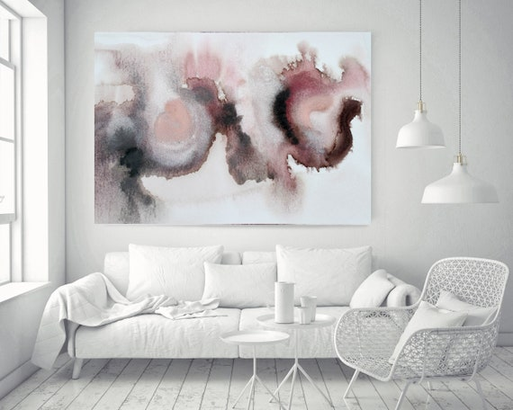 """Pink Blue Brown Grey Watercolor abstract splash 6. Pink Brown Abstract Paintings Contemporary Canvas Art Print up to 72"""" by Irena Orlov"""
