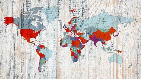 World Map on wooden planks white. Vintage World Map. Large Canvas Wall Art for Home. Home Decor. Map on wood. Wall Decor by Irena Orlov.