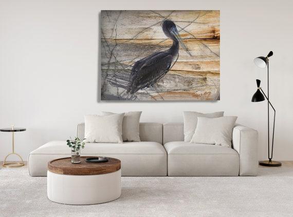 Pelican. Pelican Painting Canvas Print, Bird on Wood Rustic Canvas Print, Grey Black Natural canvas wall decor by Irena Orlov