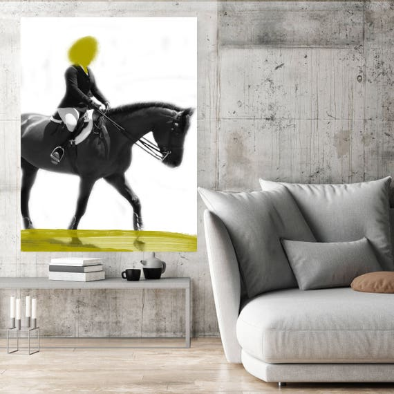 "Female Rider 8-2, Extra Large Horse Black Green or Blue Contemporary Horse Canvas Art Print up to 72"" by Irena Orlov"